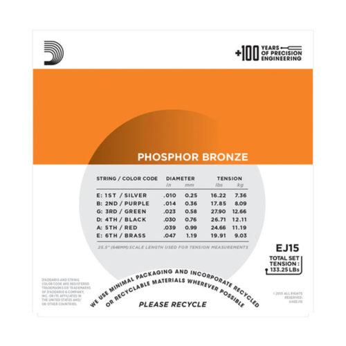 سیم گیتار DAddario مدل Phosphor Bronze EJ15